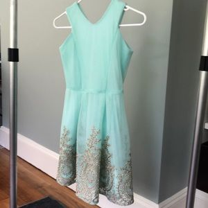 Gorgeous mint tulle dress with metallic embroidery